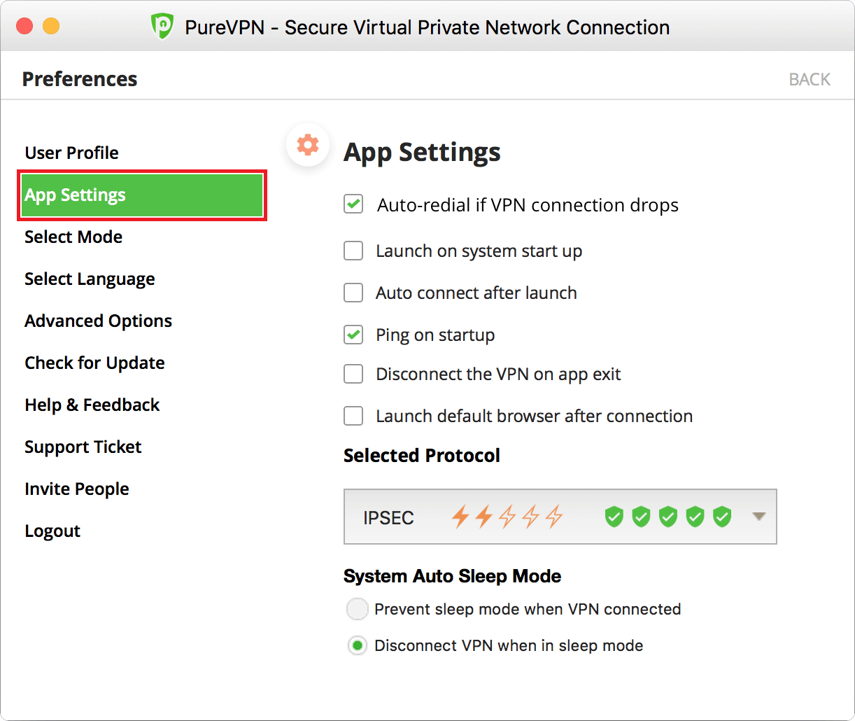 PureVPN App Settings